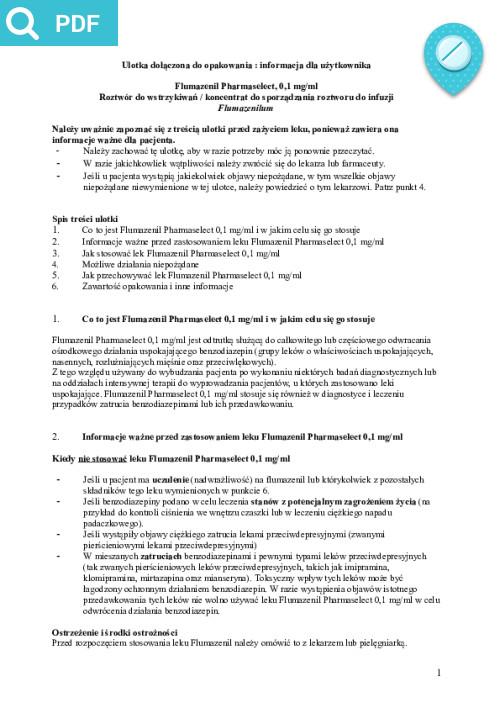 Flumazenil Pharmaselect 0,1 Mg/ml cena i dostępność w