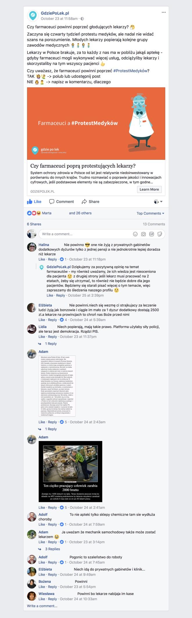 Zrzut ekranu komentarzy pod postem GdziePoLek na Facebooku o poparciu farmaceutów dla protestu medyków