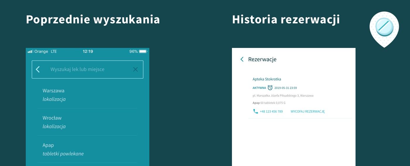Screenshot wykorzystania danych lokalnych w aplikacji PWA GdziePoLek: ostatnie wyszukania, historia rezerwacji