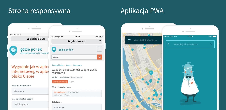 Screenshot strony głównej GdziePoLek oraz jego aplikacji PWA